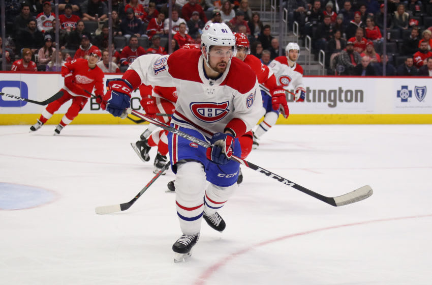 DETROIT, MICHIGAN - FEBRUARY 18: Xavier Ouellet #61 of the Montreal Canadiens skates against the Detroit Red Wings at Little Caesars Arena on February 18, 2020 in Detroit, Michigan. (Photo by Gregory Shamus/Getty Images)
