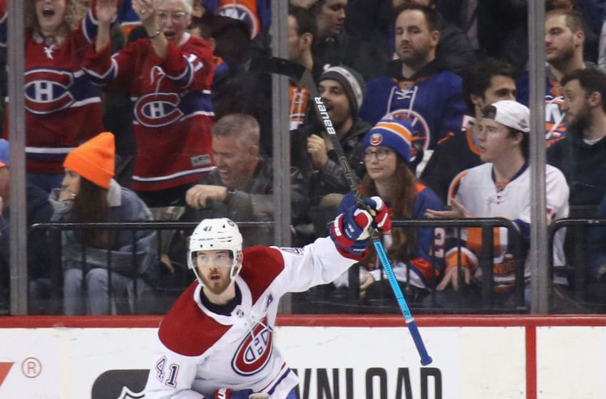 NEW YORK, NEW YORK - MARCH 03: Paul Byron #41 of the Montreal Canadiens celebrates his second period short-handed goal against the New York Islanders at the Barclays Center on March 03, 2020 in the Brooklyn borough of New York City. (Photo by Bruce Bennett/Getty Images)