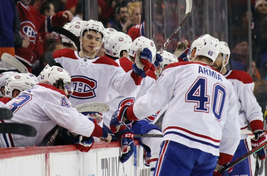NEW YORK, NEW YORK - MARCH 03: The Montreal Canadiens celebrate (Photo by Bruce Bennett/Getty Images)