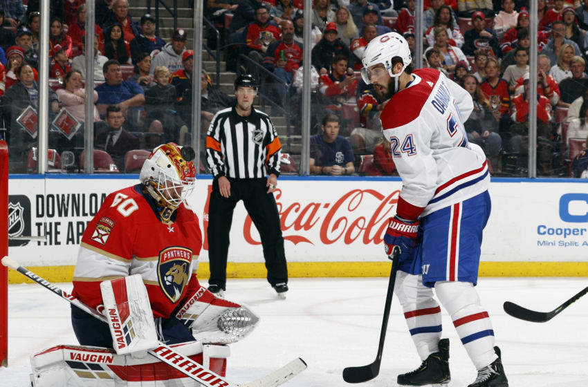 SUNRISE, FL - MARCH 7: Phillip Danault #24 of the Montreal Canadiens watches as the puck goes over Goaltender Chris Driedger #60 of the Florida Panthers at the BB&T Center on March 7, 2020 in Sunrise, Florida. The Panthers defeated the Canadiens 4-1. (Photo by Joel Auerbach/Getty Images)