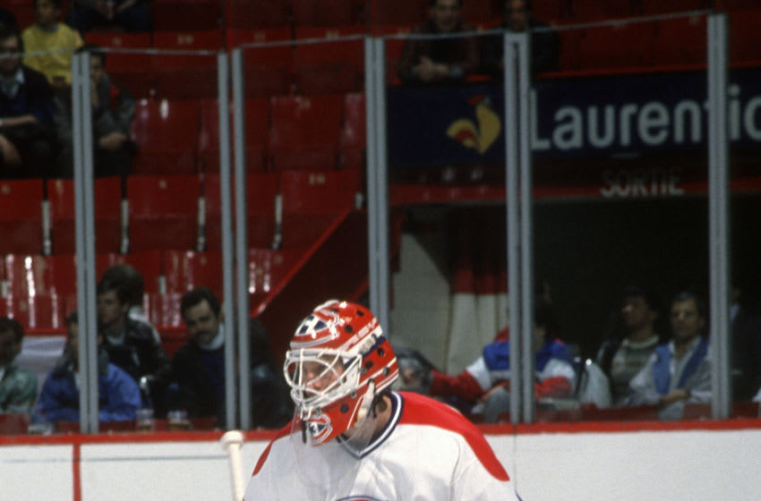 MONTREAL, QU - CIRCA 1995: Goalie Patrick Roy #33 of the Montreal Canadiens warms up prior to the start of an NHL Hockey game circa 1995 at the Montreal Forum in Montreal, Quebec. Roy's playing career went from 1984-2003. (Photo by Focus on Sport/Getty Images)