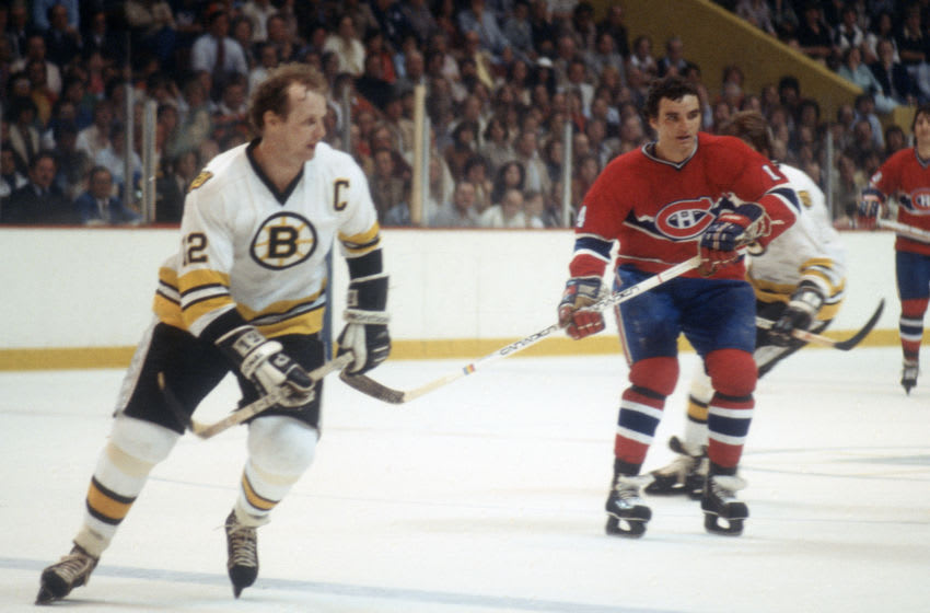 BOSTON, MA - CIRCA 1979: Mario Tremblay #14 of the Montreal Canadiens skates against the Boston Bruins during an NHL Hockey game circa 1979 at the Boston Garden in Boston, Massachusetts. Tremblay's playing career went from 1974-86. (Photo by Focus on Sport/Getty Images)