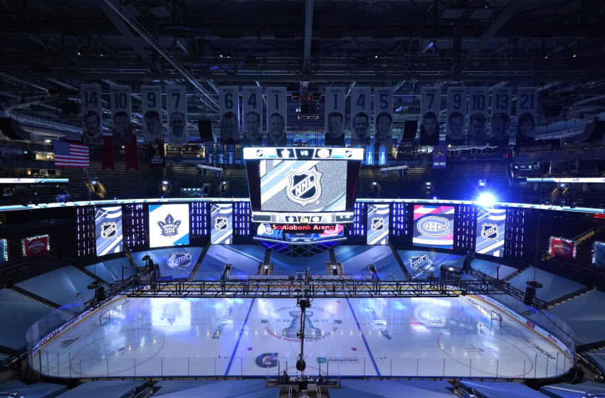 TORONTO, ONTARIO - JULY 28: A view of the ice before the Toronto Maple Leafs and the Montreal Canadiens begin the second period during an exhibition game prior to the 2020 NHL Stanley Cup Playoffs at Scotiabank Arena on July 28, 2020 in Toronto, Ontario. (Photo by Andre Ringuette/Freestyle Photo/Getty Images)