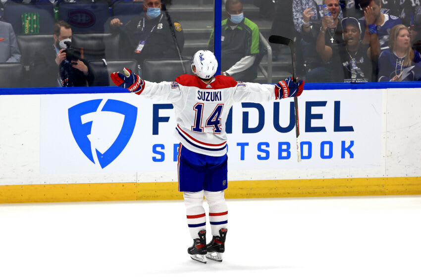 TAMPA, FLORIDA - JUNE 30: Nick Suzuki #14 of the Montreal Canadiens reacts after scoring against Andrei Vasilevskiy #88 of the Tampa Bay Lightning during the second period in Game Two of the 2021 NHL Stanley Cup Final at Amalie Arena on June 30, 2021 in Tampa, Florida. (Photo by Mike Ehrmann/Getty Images)