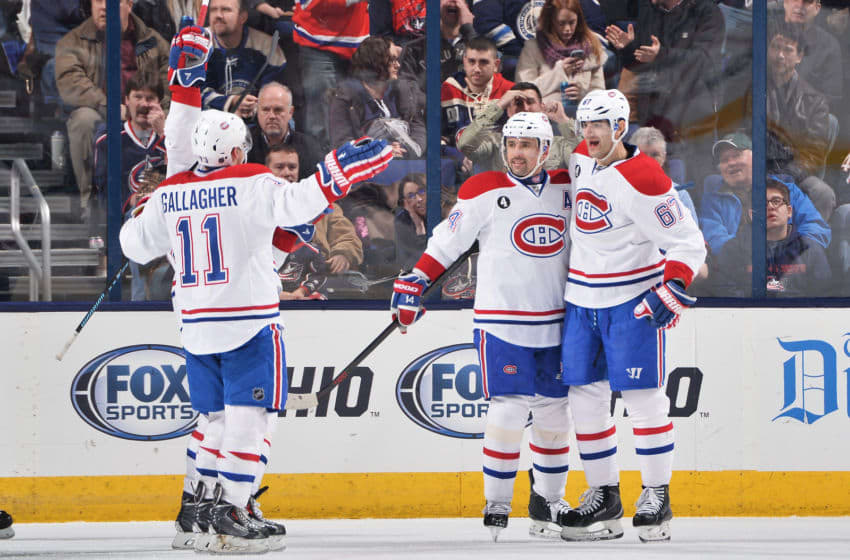 COLUMBUS, OH - JANUARY 14: Max Pacioretty #67 of the Montreal Canadiens celebrates his second goal of the game with teammates Brendan Gallagher #11 and Tomas Plekanec #14 of the Montreal Canadiens during the third period of a game against the Columbus Blue Jackets on January 14, 2015 at Nationwide Arena in Columbus, Ohio. Montreal defeated Columbus 3-2. (Photo by Jamie Sabau/NHLI via Getty Images)