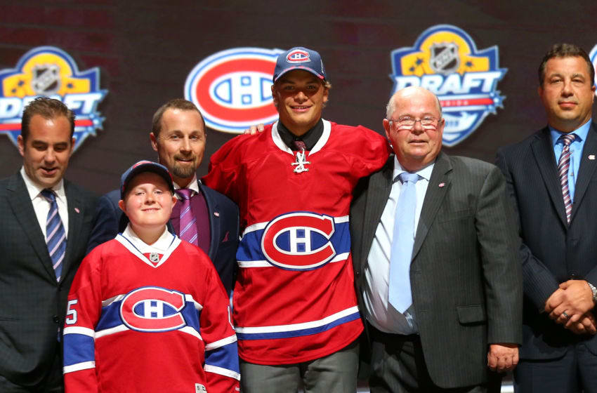 SUNRISE, FL - JUNE 26: Noah Juulsen poses after being selected 26th overall by the Montreal Canadiens in the first round of the 2015 NHL Draft at BB&T Center on June 26, 2015 in Sunrise, Florida. (Photo by Bruce Bennett/Getty Images)