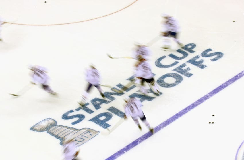 NEW YORK, NY - APRIL 16: The Montreal Canadiens skate in warm-ups prior to the game against the New York Rangers in Game Three of the Eastern Conference First Round during the 2017 NHL Stanley Cup Playoffs at Madison Square Garden on April 16, 2017 in New York City. (Photo by Bruce Bennett/Getty Images)