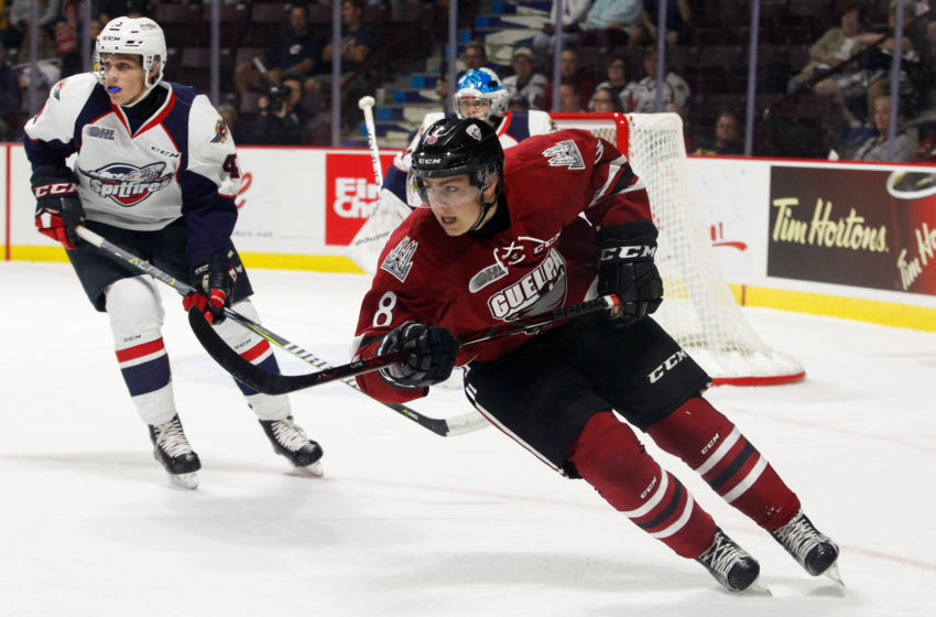 WINDSOR, ON - SEPTEMBER 24: Forward Cam Hillis #8 of the Guelph Storm skates against the Windsor Spitfires on September 24, 2017 at the WFCU Centre in Windsor, Ontario, Canada. (Photo by Dennis Pajot/Getty Images)
