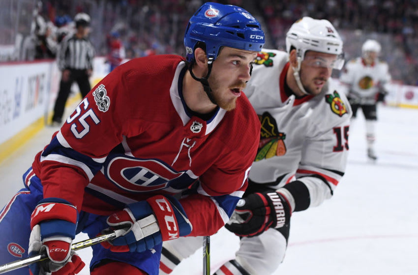 MONTREAL, QC - OCTOBER 10: Andrew Shaw #65 of the Montreal Canadiens skates against Artem Anisimov #15 of the Chicago Blackhawks in the NHL game at the Bell Centre on October 10, 2017 in Montreal, Quebec, Canada. (Photo by Francois Lacasse/NHLI via Getty Images) *** Local Caption ***