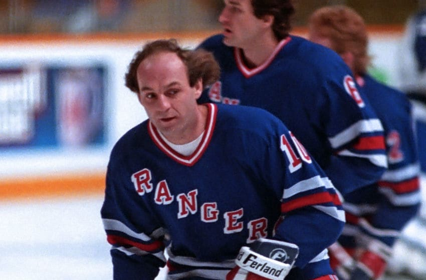 TORONTO, ON - JANUARY 28: Guy Lafleur #10 of the New York Rangers skates against the Toronto Maple Leafs during NHL game action on January 28, 1989 at Maple Leaf Gardens in Toronto, Ontario, Canada. Toronto tied New York 1-1. (Photo by Graig Abel/Getty Images)