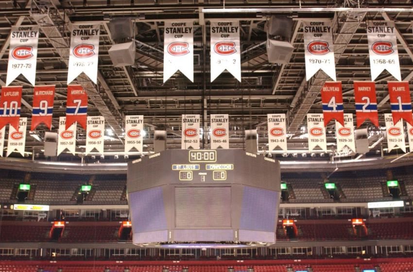 MONTREAL - NOVEMBER 5: A general view of the rafters that show the Stanley Cup Champion banners along with the retired jerseys of the Montreal Canadiens at the Molson Centre on November 5, 2002 in Montreal, Quebec, Canada. (Photo by Harry How/Getty Images)
