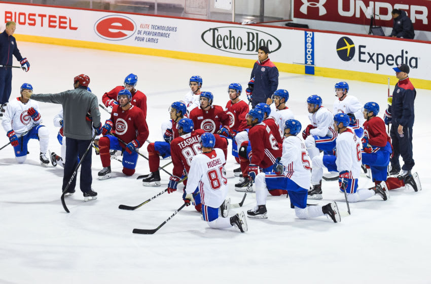 BROSSARD, QC - JUNE 30: Montreal Canadiens Prospects listening to Joel Bouchard instructions during the Montreal Canadiens Development Camp on June 30, 2018, at Bell Sports Complex in Brossard, QC (Photo by David Kirouac/Icon Sportswire via Getty Images)