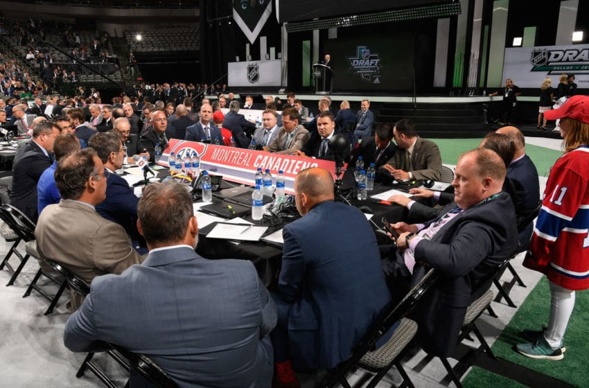 DALLAS, TX - JUNE 22: A general view of the Montreal Canadiens draft table is seen during the first round of the 2018 NHL Draft at American Airlines Center on June 22, 2018 in Dallas, Texas. (Photo by Brian Babineau/NHLI via Getty Images)