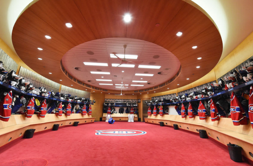MONTREAL, QC - APRIL 15: A general view of the Montreal Canadiens locker room as photographed prior of the Eastern Conference Quarterfinals against Ottawa Senators in Game One during the 2015 NHL Stanley Cup Playoffs at the Bell Centre on April 15, 2015 in Montreal, Quebec, Canada. (Photo by Francois Lacasse/NHLI via Getty Images)