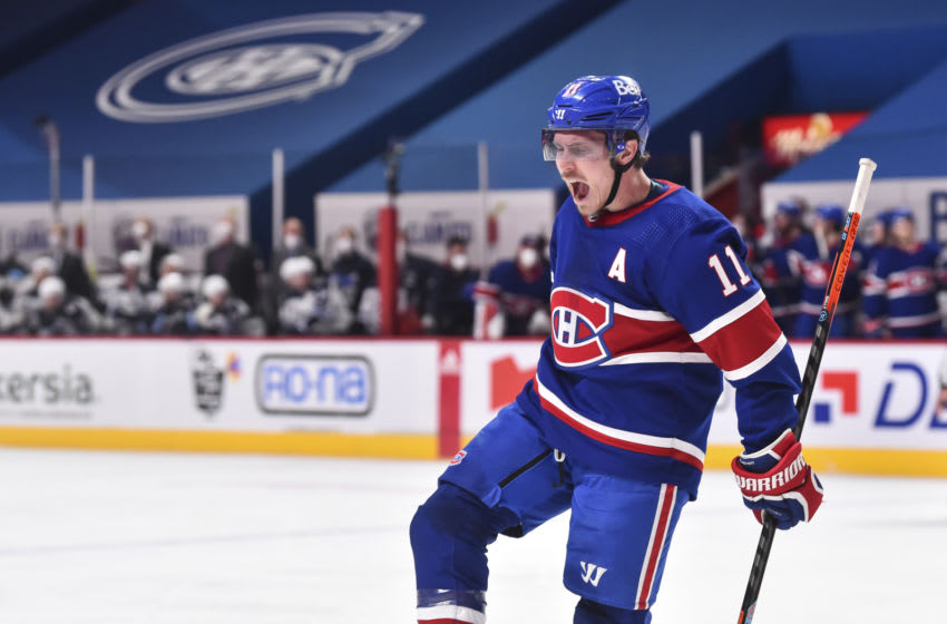 MONTREAL, QC - MARCH 04: Brendan Gallagher #11 of the Montreal Canadiens celebrates his goal during the second period against the Winnipeg Jets at the Bell Centre on March 4, 2021 in Montreal, Canada. (Photo by Minas Panagiotakis/Getty Images)