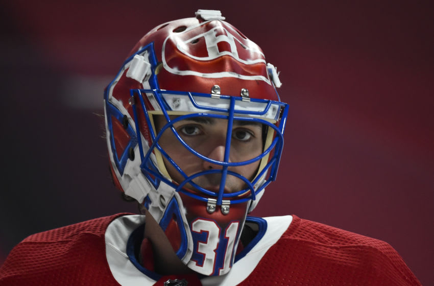 MONTREAL, QC - JANUARY 30: Goaltender Carey Price #31 of the Montreal Canadiens looks on during the warm-up against the Calgary Flames at the Bell Centre on January 30, 2021 in Montreal, Canada. The Calgary Flames defeated the Montreal Canadiens 2-0. (Photo by Minas Panagiotakis/Getty Images)