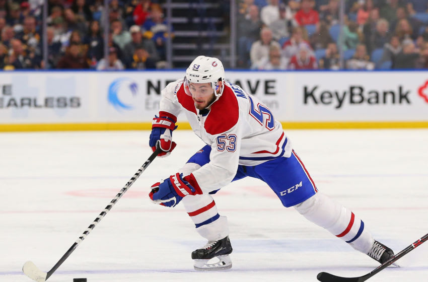 BUFFALO, NY - OCTOBER 25: Victor Mete #53 of the Montreal Canadiens during the game against the Buffalo Sabres at the KeyBank Center on October 25, 2018 in Buffalo, New York. (Photo by Kevin Hoffman/Getty Images)