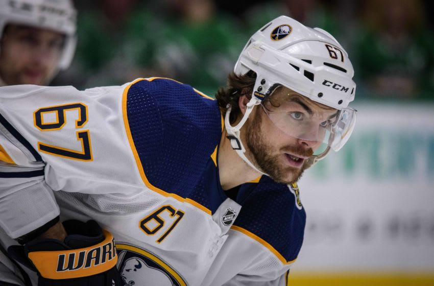 Jan 16, 2020; Dallas, Texas, USA; Buffalo Sabres right wing Michael Frolik (67) in action during the game between the Stars and the Sabres at the American Airlines Center. Mandatory Credit: Jerome Miron-USA TODAY Sports