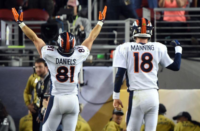 Feb 7, 2016; Santa Clara, CA, USA; Denver Broncos quarterback Peyton Manning (18) and tight end Owen Daniels (81) react to a fourth quarter touchdown against the Carolina Panthers in Super Bowl 50 at Levi