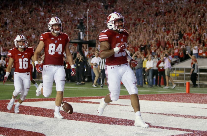 MADISON, WI - AUGUST 31: Jonathan Taylor #23 of the Wisconsin Badgers celebrates after scoring a touchdown in the second quarter against the Western Kentucky Hilltoppers at Camp Randall Stadium on August 31, 2018 in Madison, Wisconsin. (Photo by Dylan Buell/Getty Images)
