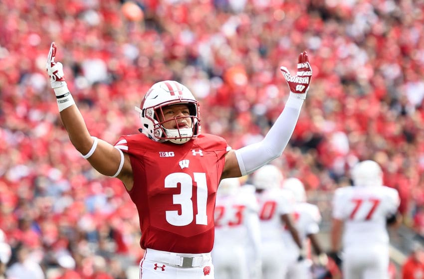 MADISON, WI - SEPTEMBER 08: Madison Cone #31 of the Wisconsin Badgers reacts to a stop against the New Mexico Lobos during the first half at Camp Randall Stadium on September 8, 2018 in Madison, Wisconsin. (Photo by Stacy Revere/Getty Images)