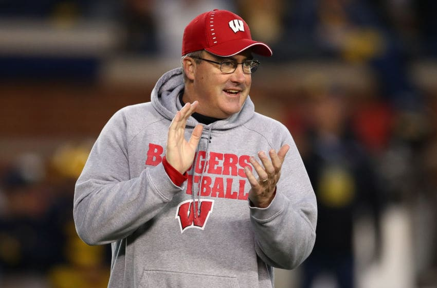 ANN ARBOR, MI - OCTOBER 13: Head coach Paul Chryst of the Wisconsin Badgers look on during warmups prior to playing the Michigan Wolverines on October 13, 2018 at Michigan Stadium in Ann Arbor, Michigan. (Photo by Gregory Shamus/Getty Images)