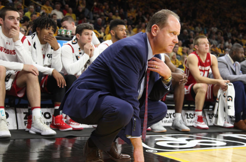 IOWA CITY, IOWA- NOVEMBER 30: Head coach Greg Gard of the Wisconsin Badgers watches the action in the first half against the Iowa Hawkeyes runs on November 30, 2018 at Carver-Hawkeye Arena, in Iowa City, Iowa. (Photo by Matthew Holst/Getty Images)
