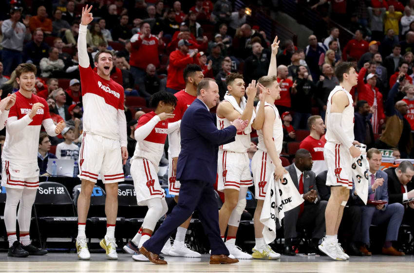 CHICAGO, ILLINOIS - MARCH 15: The Wisconsin Badgers bench reacts in the second half against the Nebraska Huskers during the quarterfinals of the Big Ten Basketball Tournament at the United Center on March 15, 2019 in Chicago, Illinois. (Photo by Jonathan Daniel/Getty Images)
