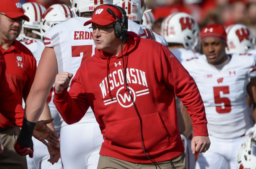 LINCOLN, NE - NOVEMBER 16: Head coach Paul Chryst of the Wisconsin Badgers reacts after the team scores a touchdown against the Nebraska Cornhuskers at Memorial Stadium on November 16, 2019 in Lincoln, Nebraska. (Photo by Steven Branscombe/Getty Images)