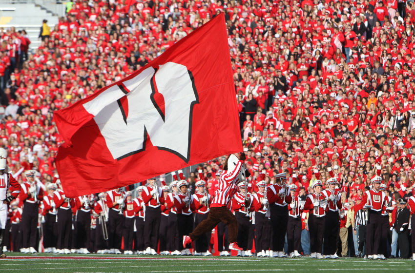 MADISON, WI - NOVEMBER 17: The Wisconsin Badgers macot Bucky Badger runs onto the field before the game against the Ohio State Buckeyes at Camp Randall Stadium on November 17, 2012 in Madison, Wisconsin. (Photo by Mike McGinnis/Getty Images)