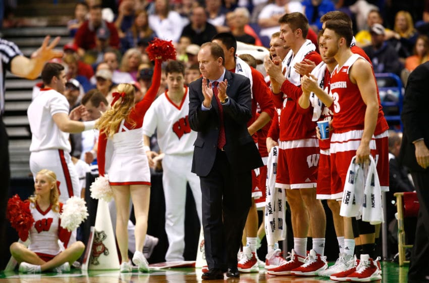 ST LOUIS, MO - MARCH 20: Head coach Greg Gard of the Wisconsin Badgers looks on with his bench in the second half against the Xavier Musketeers during the second round of the 2016 NCAA Men's Basketball Tournament at Scottrade Center on March 20, 2016 in St Louis, Missouri. (Photo by Jamie Squire/Getty Images)