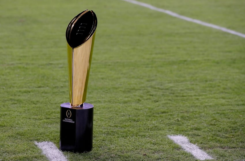 TAMPA, FL - JANUARY 09: The College Football Playoff National Championship Trophy presented by Dr Pepper is seen prior to the 2017 College Football Playoff National Championship Game between the Alabama Crimson Tide and the Clemson Tigers at Raymond James Stadium on January 9, 2017 in Tampa, Florida. (Photo by Kevin C. Cox/Getty Images)