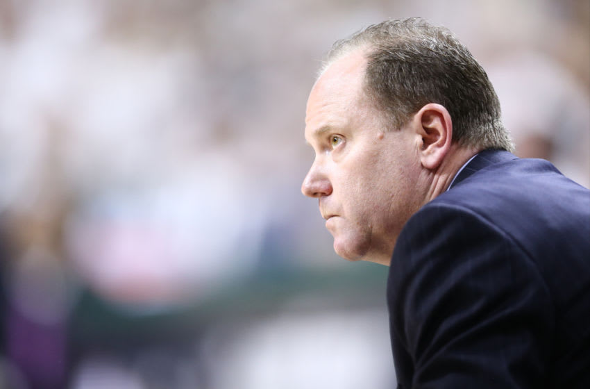 EAST LANSING, MI - FEBRUARY 26: Head coach Greg Gard of the Wisconsin Badgers looks on during the game against the Michigan State Spartans in the second half at the Breslin Center on February 26, 2017 in East Lansing, Michigan. (Photo by Rey Del Rio/Getty Images)