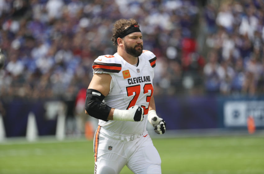 BALTIMORE, MD - SEPTEMBER 17: Offensive tackle Joe Thomas #73 of the Cleveland Browns before they take on the Baltimore Ravens at M&T Bank Stadium on September 17, 2017 in Baltimore, Maryland. (Photo by Rob Carr /Getty Images)