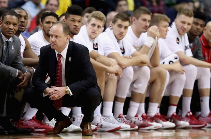 WASHINGTON, DC - MARCH 12: Head coach Greg Gard of the Wisconsin Badgers looks on during the second half against the Michigan Wolverines during the Big Ten Basketball Tournament Championship game at Verizon Center on March 12, 2017 in Washington, DC. (Photo by Rob Carr/Getty Images)