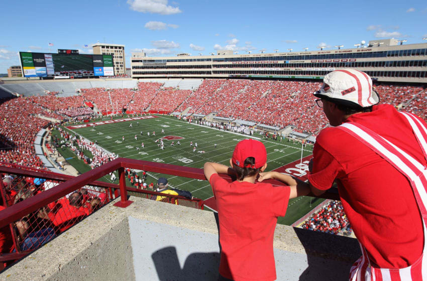 MADISON, WI - SEPTEMBER 19: General view of action as fans look on during the college football game between the Wisconsin Badgers and the Troy Trojans at Camp Randall Stadium on September 19, 2015 in Madison, Wisconsin. (Photo by Christian Petersen/Getty Images)