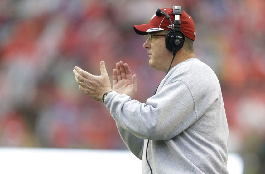 MADISON, WI - OCTOBER 31: Head Coach Paul Chryst of the Wisconsin Badgers celebrates on the sidelines during the second half against the Rutgers Scarlet Knights at Camp Randall Stadium on October 31, 2015 in Madison, Wisconsin. (Photo by Mike McGinnis/Getty Images)
