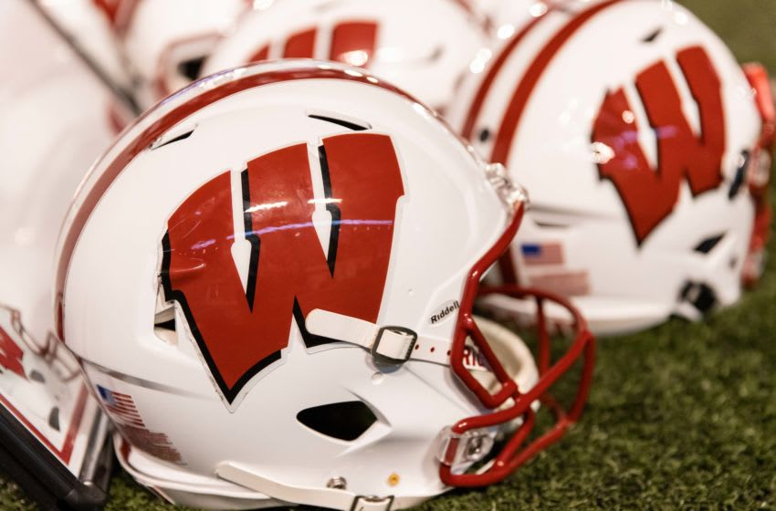 Oct 6, 2018; Madison, WI, USA; Wisconsin Badgers helmets sit on the sidelines during the game against the Nebraska Cornhuskers at Camp Randall Stadium. Mandatory Credit: Jeff Hanisch-USA TODAY Sports