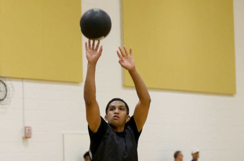Bellevue West's Chucky Hepburn (87) goes up for a shot during a Purdue Men's Basketball Elite Camp, Saturday, Aug. 24, 2019 at the Cordova Recreational Sports Center in West Lafayette. Purdue Men S Elite Basketball Camp