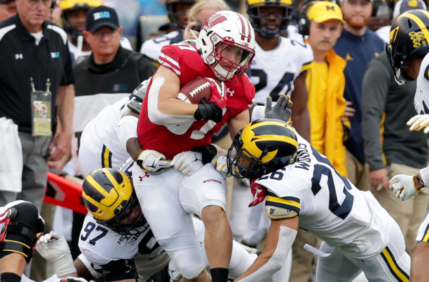 Sep 21, 2019; Madison, WI, USA; Wisconsin Badgers running back Garrett Groshek (37) is tackled after a catch during the 1st half of the Wisconsin Badgers vs. the Michigan Wolverines football game at Camp Randall Stadium. Mandatory Credit: Mike De Sisti/Milwaukee Journal Sentinel via USA TODAY Sports