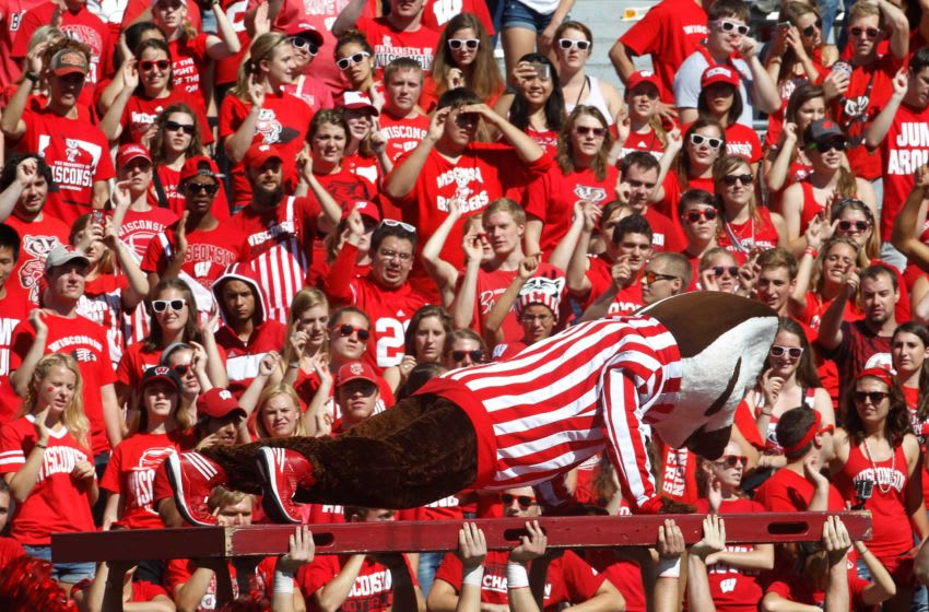 Bucky Badger does 65 pushups in front of the crowd during the University of Wisconsin 68-17 football game win over Bowling Green at Camp Randall Stadium in Madison, Wisconsin, Saturday, September 20, 2014. Milwaukee Journal Sentinel photo by Rick Wood/RWOOD@JOURNALSENTINEL.COM Ugrid21 38ofx Spt Wood