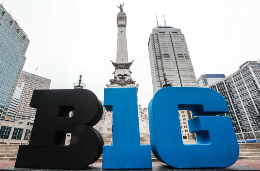 B1G letters sit on Monument Circle before the NCAA Big Ten tournament in Indianapolis, Tuesday, March 10, 2020. Finals 14