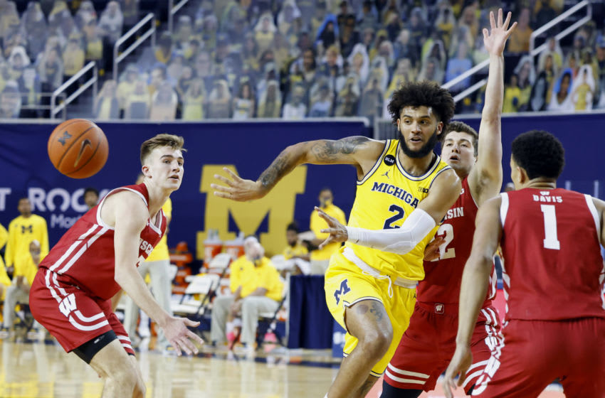 Jan 12, 2021; Ann Arbor, Michigan, USA; Michigan Wolverines forward Isaiah Livers (2) passes the ball against the Wisconsin Badgers in the first half at Crisler Center. Mandatory Credit: Rick Osentoski-USA TODAY Sports