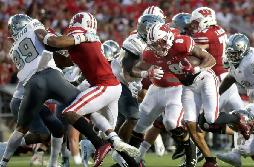 Wisconsin Badgers running back Jalen Berger (8) rushes for a second quarter touchdown against Eastern Michigan during their football game on Saturday, September 11, 2021 in Madison, Wis.Wm. Glasheen USA TODAY NETWORK-Wisconsin Apc Uw Badgers Vs E Mich Football 2783 101121wag