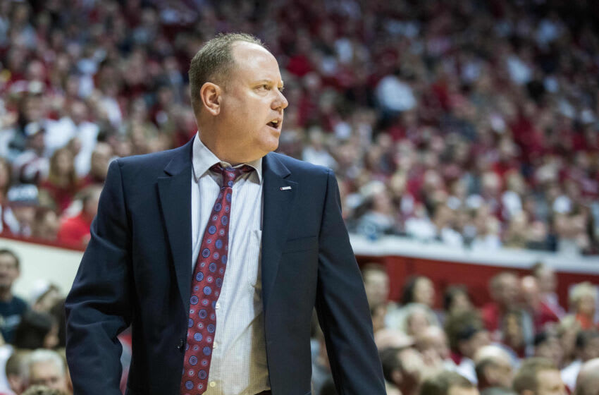 Mar 7, 2020; Bloomington, Indiana, USA; Wisconsin Badgers head coach Greg Gard on the sideline in the first half against the Indiana Hoosiers at Simon Skjodt Assembly Hall. Mandatory Credit: Trevor Ruszkowski-USA TODAY Sports