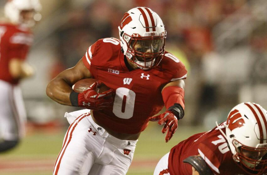 Wisconsin Badgers running back Braelon Allen, Mandatory credit - Jeff Hanisch-USA TODAY Sports