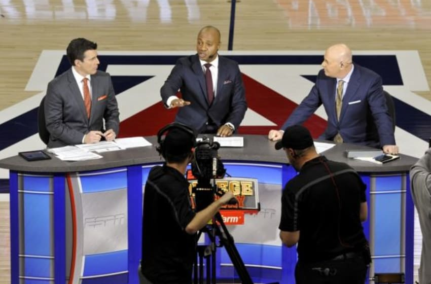 Feb 21, 2015; Tucson, AZ, USA; ESPN College GameDay hosts Rece Davis (L), Jay Williams (C), and Seth Greenberg (R) talk prior to the game between the Arizona Wildcats and the UCLA Bruins at McKale Center. Mandatory Credit: Casey Sapio-USA TODAY Sports