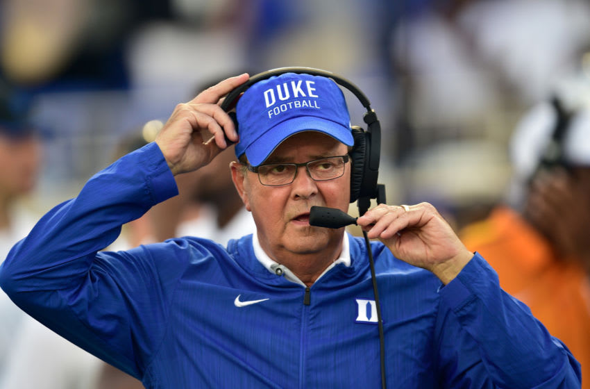 DURHAM, NC - AUGUST 31: Head coach David Cutcliffe of the Duke football team during their game against the Army Black Knights at Wallace Wade Stadium on August 31, 2018 in Durham, North Carolina. Duke won 34-14. (Photo by Grant Halverson/Getty Images)