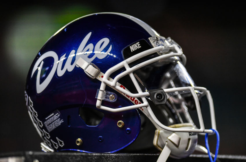 MIAMI, FL - NOVEMBER 03: A detailed view of the helmet worn by the Duke football team during the game against the Miami Hurricanes at Hard Rock Stadium on November 3, 2018 in Miami, Florida. (Photo by Mark Brown/Getty Images)