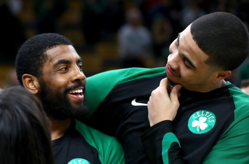 Former Duke basketball players Kyrie Irving and Jayson Tatum (Photo by Omar Rawlings/Getty Images)